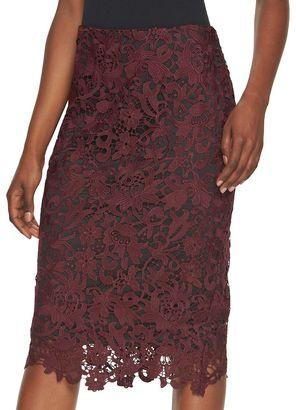 Women's Jennifer Lopez Lace Pencil Skirt $60 thestylecure.com