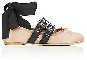 Miu Miu Women's Double Buckle Satin Ankle-Tie Flats-Nudo+nero