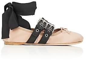 Miu Miu Women's Double Buckle Satin Ankle-Tie Flats - Nudo+Nero