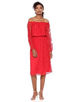 Nine West Women's Long Sleeve Midi Peasant Dress
