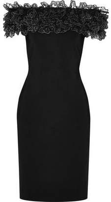Christopher Kane Off-the-shoulder Metallic Lace-trimmed Stretch-knit Dress