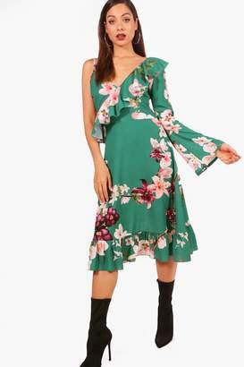 boohoo One Shoulder Floral Midi Tea Dress