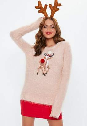 Missguided Pink Rudolph Fluffy Knit Christmas Sweater