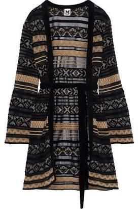 M Missoni Belted Crochet-knit Cardigan