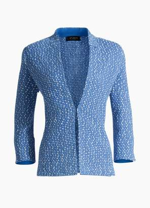 St. John Engineered Coastal Texture Tweed Knit 3/4 Sleeve Jacket