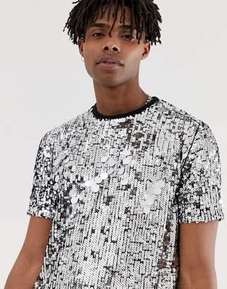 Asos Design DESIGN festival t-shirt with silver sequins