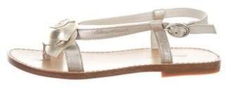 Santoni Girls' Metallic Rose Sandals w/ Tags