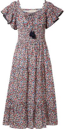 Tory Burch Smocked Floral-print Cotton Midi Dress - Blue