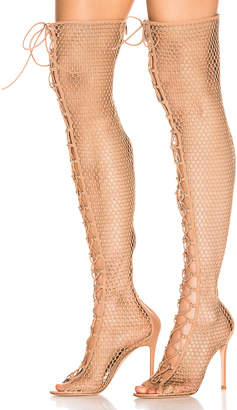 Gianvito Rossi Helena Knee Lace Up Boot in Praline | FWRD