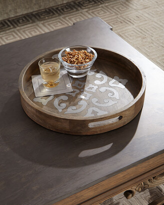 """GG Collection G G Collection Round Wood Tray w/ Metal Inlay, 20"""""""
