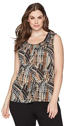 Kasper Women's Plus Size Abstract Printed Metallic Knit Cami