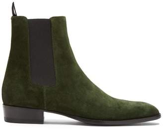 Saint Laurent Wyatt Suede Chelsea Boots - Mens - Green