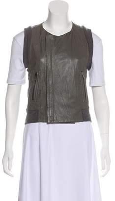 BCBGMAXAZRIA Leather Mixed Media Vest