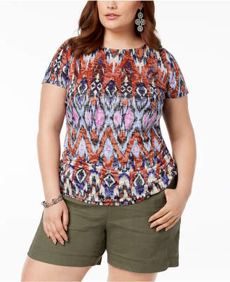 INC International Concepts I.N.C. Plus Size Ruched Printed Burnout Top, Created for Macy's