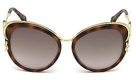 Roberto Cavalli Women's 56MM Round Logo Tortoiseshell Sunglasses