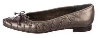Stuart Weitzman Leather Pointed-Toe Flats