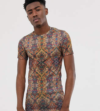 Asos Design DESIGN Tall muscle fit linen look all over tapestry print