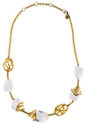Alexis Bittar Lucite & Crystal Collar Necklace Gold Lucite & Crystal Collar Necklace
