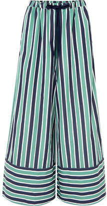 Fendi Striped Cotton-poplin Wide-leg Pants - Green