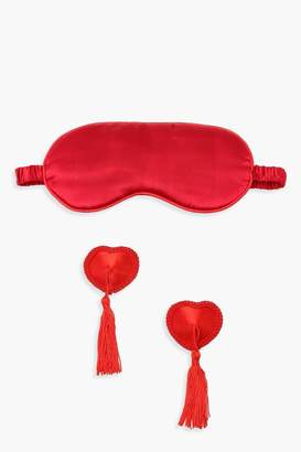 boohoo Heart Nipple Tassel & Eye Mask Set