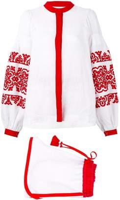Yuliya Magdych embroidered short and blouse set