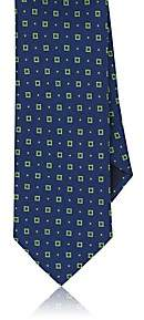 Barneys New York MEN'S SQUARE-PATTERN SILK NECKTIE-NAVY