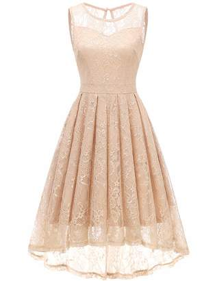 Gardenwed Women's Vintage Lace High Low Bridesmaid Dress Sleeveless Cocktail Party Swing Dress M