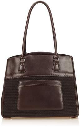 Hermes Vintage Leather Trim Tote Bag
