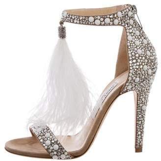 Jimmy Choo 2018 Viola 110 Feather-Trimmed Sandals