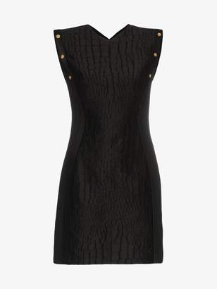 Versace sleeveless crocodile embossed cotton silk-blend mini dress