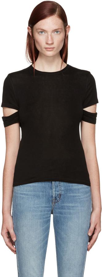 Helmut Lang Black Baby Rib Slash T-Shirt