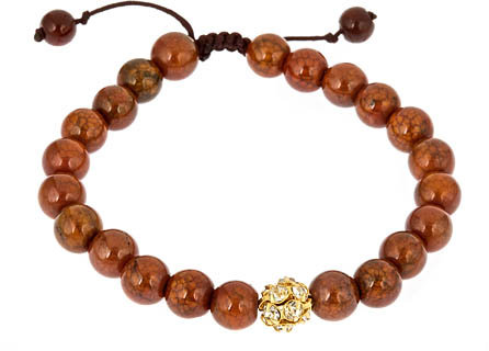 Lacey Ryan Orange Agate with Gold Fireball Macramé Bracelet