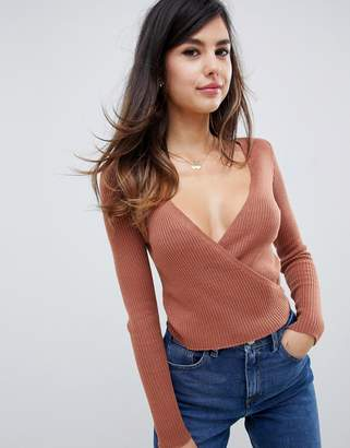 Asos Design DESIGN cropped wrap sweater in knit
