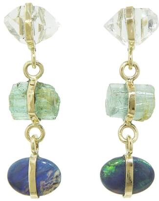 Melissa Joy Manning Herkimer Diamond, Green Beryl and Opal Trio Drop Earrings