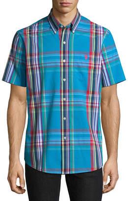 U.S. Polo Assn. USPA Short Sleeve Plaid Button-Front Shirt
