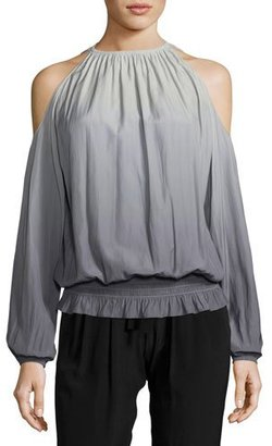Ramy Brook Lauren Ombré Cold-Shoulder Top, Silver/Gunmetal $295 thestylecure.com