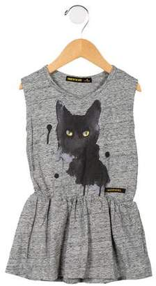 Finger In The Nose Girls' Cat Graphic Sleeveless Dress