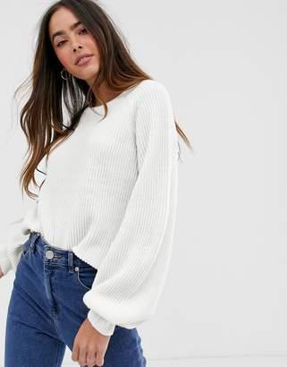 Vila balloon sleeve rib knitted jumper