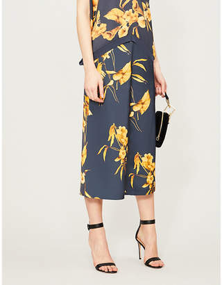 Ted Baker Fantasia-print wide-leg cropped satin trousers