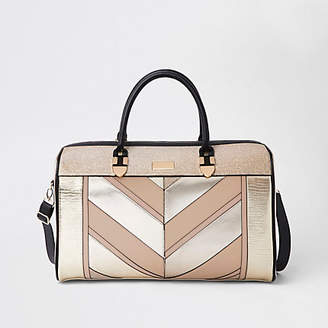At River Island Womens Gold Glitter Panel Weekend Bag
