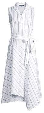 Lafayette 148 New York Dandy Striped Sleeveless Shirt Dress
