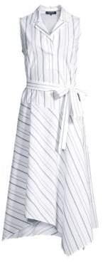 Lafayette 148 New York Women's Dandy Striped Sleeveless Shirt Dress - White Multi - Size Large