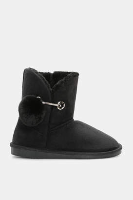Ardene Faux Suede Mid-Calf Boots with Safety Pin