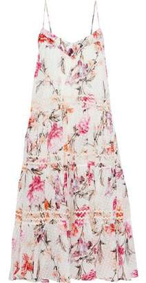 Nicholas Tiered Floral-Print Fil Coupé Silk-Blend Dress