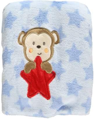 "Baby Starters Monkey Star"" Plush Blanket - blue, one"