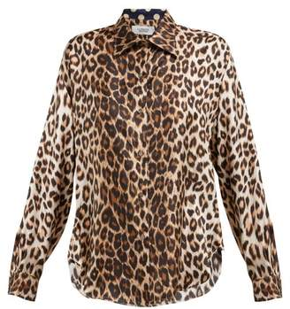 La Prestic Ouiston - Varenne Leopard Print Silk Twill Blouse - Womens - Brown Multi