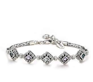 Samuel B Jewelry Sterling Silver Bezel Set Blue Topaz & Amethyst Station Bracelet