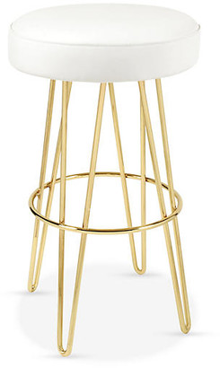 Le-Coterie Hairpin Swivel Barstool - Brass/White Leather