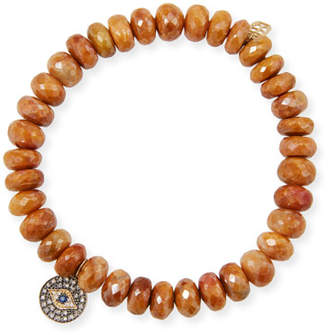 Sydney Evan 14k Tiger Eye Bracelet w/ Small Eye Charm