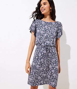 LOFT Petite Floral Tie Waist Flare Dress